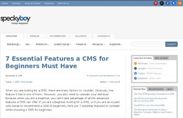 http://speckyboy.com/2011/12/04/7-essential-features-a-cms-for-beginners-must-have/