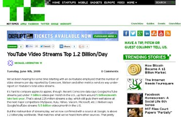 http://techcrunch.com/2009/06/09/youtube-video-streams-top-1-billionday/