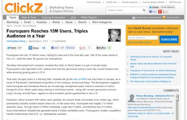 http://www.clickz.com/clickz/news/2130251/foursquare-reaches-15m-users-triples-audience