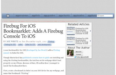 http://appadvice.com/appnn/2011/12/firebug-for-ios-bookmarklet-adds-a-firebug-console-to-ios