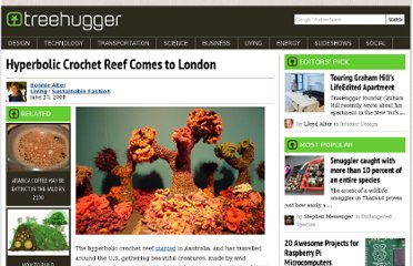http://www.treehugger.com/sustainable-fashion/hyperbolic-crochet-reef-comes-to-london.html