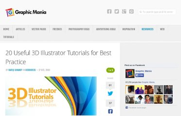 http://www.graphicmania.net/20-useful-3d-illustrator-tutorials-for-best-practice/#more-5916