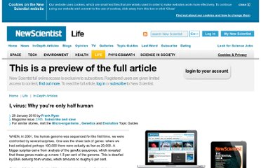 http://www.newscientist.com/article/mg20527451.200-i-virus-why-youre-only-half-human.html?full=true