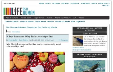 http://lifeasahuman.com/2011/relationships/5-top-reasons-why-relationships-end/