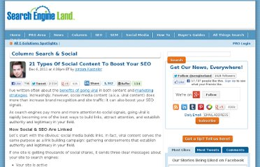 http://searchengineland.com/21-types-of-social-content-to-boost-your-seo-103625