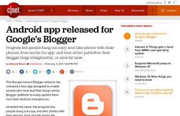 http://news.cnet.com/8301-1035_3-20030786-94/android-app-released-for-googles-blogger/