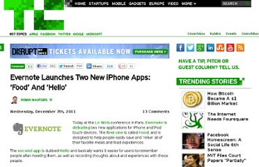http://techcrunch.com/2011/12/07/evernote-launches-two-new-iphone-apps-food-and-hello/