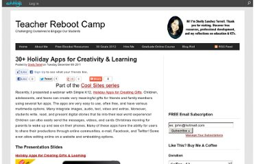 http://teacherbootcamp.edublogs.org/2011/12/06/30-holiday-apps-for-creativity-learning/