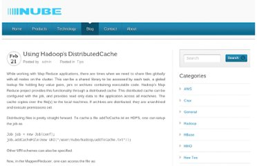 http://nubetech.co/using-hadoops-distributedcache