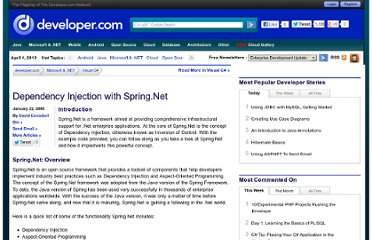 http://www.developer.com/net/csharp/article.php/3722931/Dependency-Injection-with-SpringNet.htm