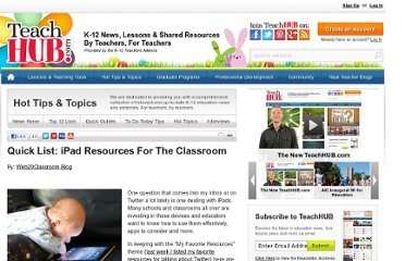 http://www.teachhub.com/ipad-classroom-resources#overlay-context=ipad-classroom-resources