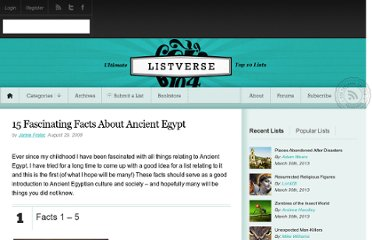 http://listverse.com/2008/08/29/15-fascinating-facts-about-ancient-egypt/