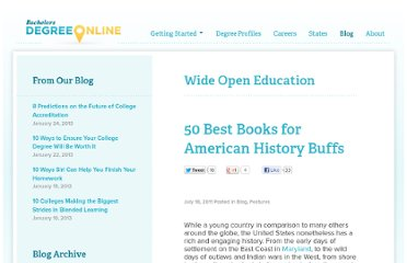 http://www.bachelorsdegreeonline.com/blog/2011/50-best-books-for-american-history-buffs/