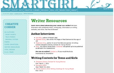 http://www.smartgirl.org/writing/resources/index.html