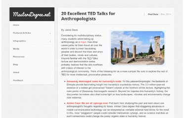 http://www.mastersdegree.net/blog/2011/20-excellent-ted-talks-for-anthropologists/