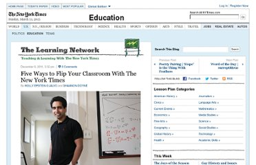 http://learning.blogs.nytimes.com/2011/12/08/five-ways-to-flip-your-classroom-with-the-new-york-times/