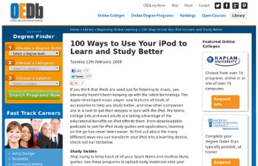 http://oedb.org/library/beginning-online-learning/100-ways-to-use-your-ipod-to-learn-and-study-better