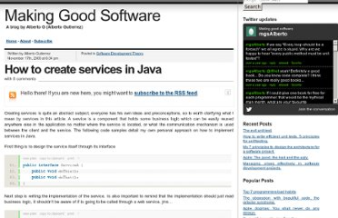 http://www.makinggoodsoftware.com/2009/11/17/how-to-create-services-in-java/