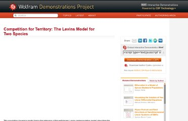 http://demonstrations.wolfram.com/CompetitionForTerritoryTheLevinsModelForTwoSpecies/