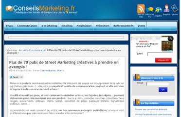 http://www.conseilsmarketing.com/communication/70-pub-de-street-marketing-droles-creatives-a-imiter