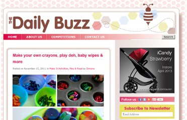 http://www.thedailybuzz.com.au/2011/11/make-your-own_homemade_crayons_play-doh_chalk_fingerpaint/