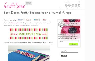 http://craftsnob.com/2011/09/book-decor-pretty-bookmarks-and-journal-wraps/