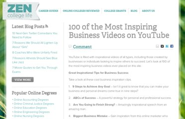 http://www.zencollegelife.com/100-of-the-most-inspiring-business-videos-on-youtube/