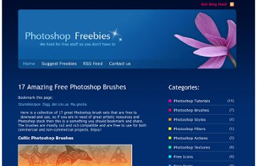 http://photoshop-freebies.com/photoshop-brushes/17-amazing-free-photoshop-brushes.php