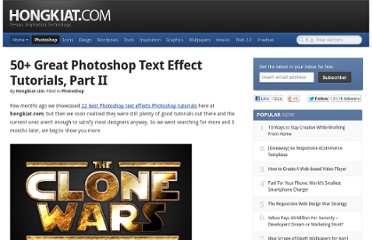http://www.hongkiat.com/blog/50-great-photoshop-text-effect-tutorials-part-ii/