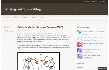 http://vrde.wordpress.com/2008/01/13/pythonic-markov-decision-process-mdp/