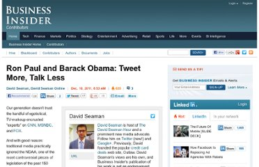 http://www.businessinsider.com/ron-paul-and-barack-obama-tweet-more-talk-less-2011-12