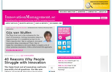 http://www.innovationmanagement.se/2011/12/06/forty-reasons-why-people-struggle-with-innovation/