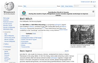 http://en.wikipedia.org/wiki/Bell_Witch