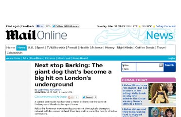 http://www.dailymail.co.uk/news/article-1159644/Next-stop-Barking-The-giant-dog-thats-hit-Londons-underground.html