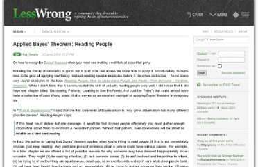 http://lesswrong.com/lw/2el/applied_bayes_theorem_reading_people/