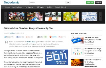 http://edudemic.com/2011/12/teacher-blogs/