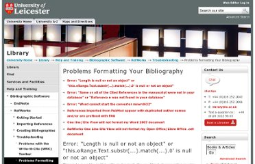 http://www2.le.ac.uk/library/help/bibliographies/refworks/troubleshooting/problems-formatting-your-bibliography#nullornotanobject