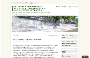 http://pedagogieuniversitaire.wordpress.com/2010/09/28/developper-un-syllabus-de-cours/