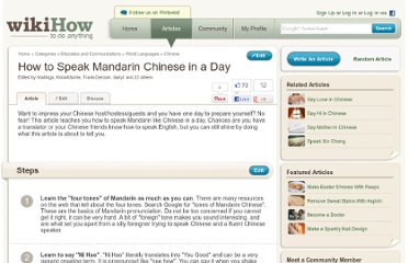 http://www.wikihow.com/Speak-Mandarin-Chinese-in-a-Day