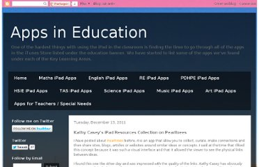 http://appsineducation.blogspot.com/2011/12/kathy-caseys-ipad-resources-collection.html