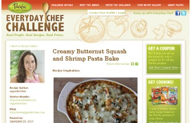 http://everydaychefchallenge.com/everyday-recipes/creamy-butternut-squash-and-shrimp-pasta-bake/