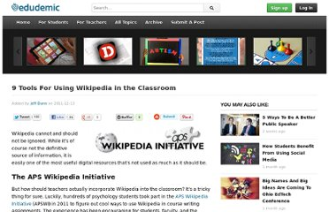 http://edudemic.com/2011/12/wikipedia-in-classroom/