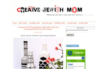 http://www.creativejewishmom.com/2011/07/painted-wine-bottle-vases-with-simple-patterns.html