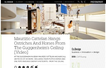 http://www.fastcodesign.com/1665616/maurizio-cattelan-hangs-ostriches-and-horses-from-the-guggenheims-ceiling-video