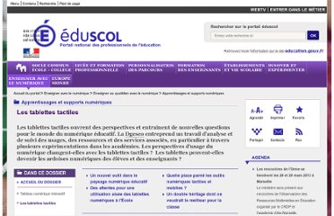 http://eduscol.education.fr/cid57905/les-tablettes-tactiles.html