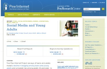 http://pewinternet.org/Reports/2010/Social-Media-and-Young-Adults.aspx