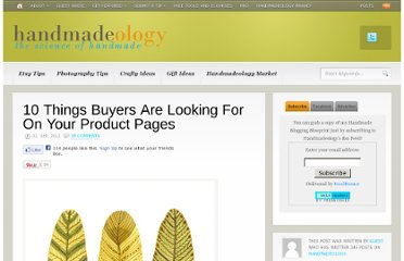 http://www.handmadeology.com/10-things-buyers-are-looking-for-on-your-product-pages/