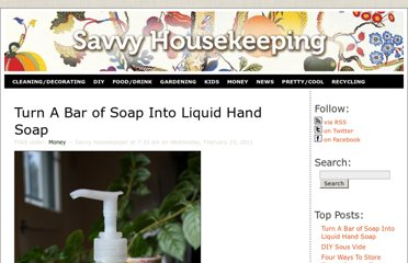 http://www.savvyhousekeeping.com/how-to-turn-a-bar-of-soap-into-liquid-hand-soap/