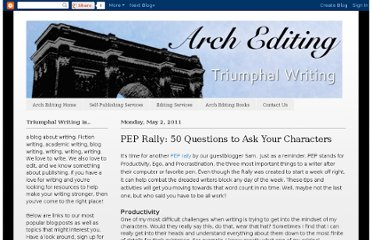 http://triumphalwriting.blogspot.com/2011/05/pep-rally-50-questions-to-ask-your.html