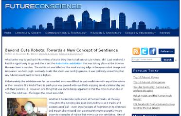 http://www.futureconscience.com/beyond-cute-robots-towards-concept-of-sentience/